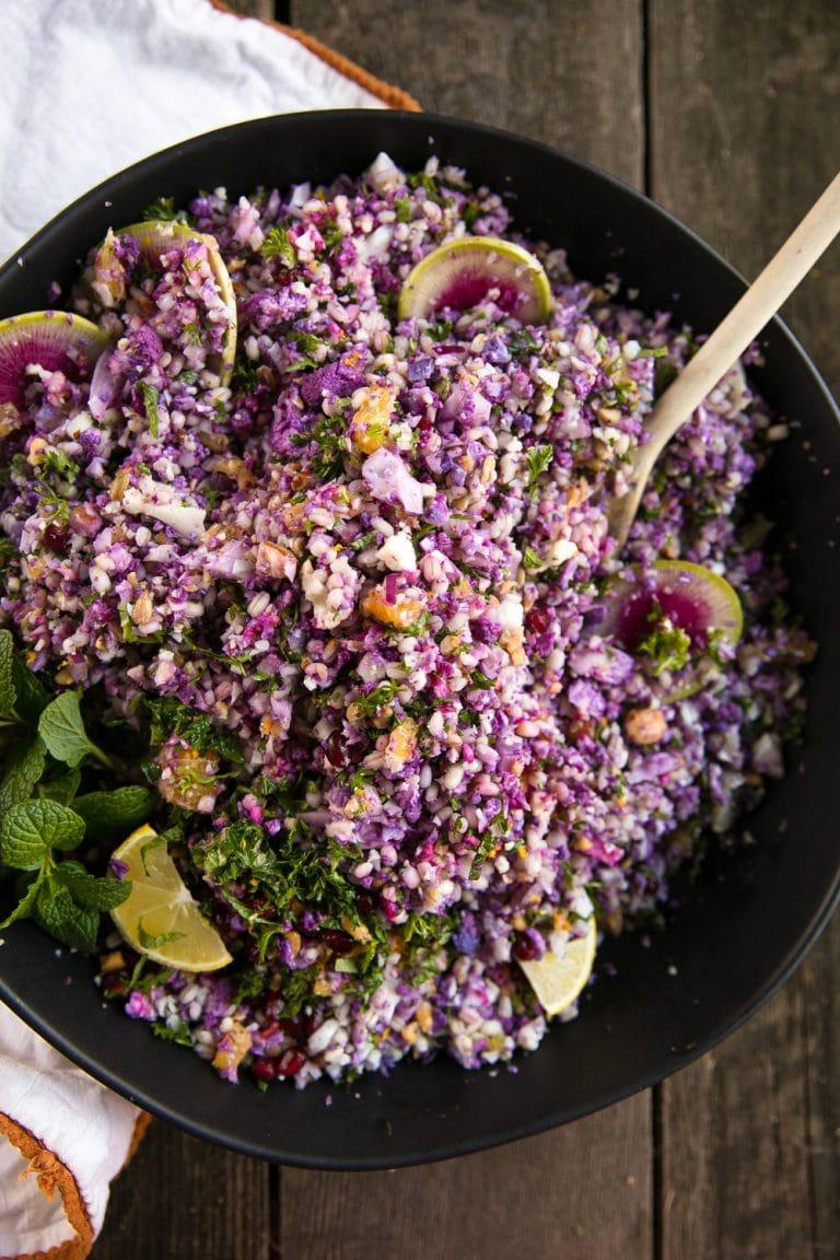 Cauliflower Barley Salad with Orange Vinaigrette. Easy Purple Cauliflower, Barley, Feta, and Mint Salad with Zesty Orange Vinaigrette
