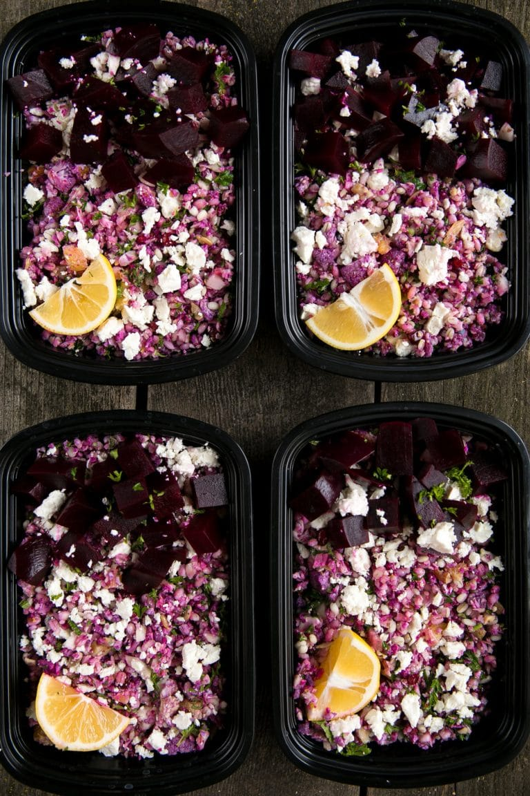 Cauliflower Barley Salad with Orange Vinaigrette. Easy Purple Cauliflower, Barley, Feta, and Mint Salad with Zesty Orange Vinaigrette