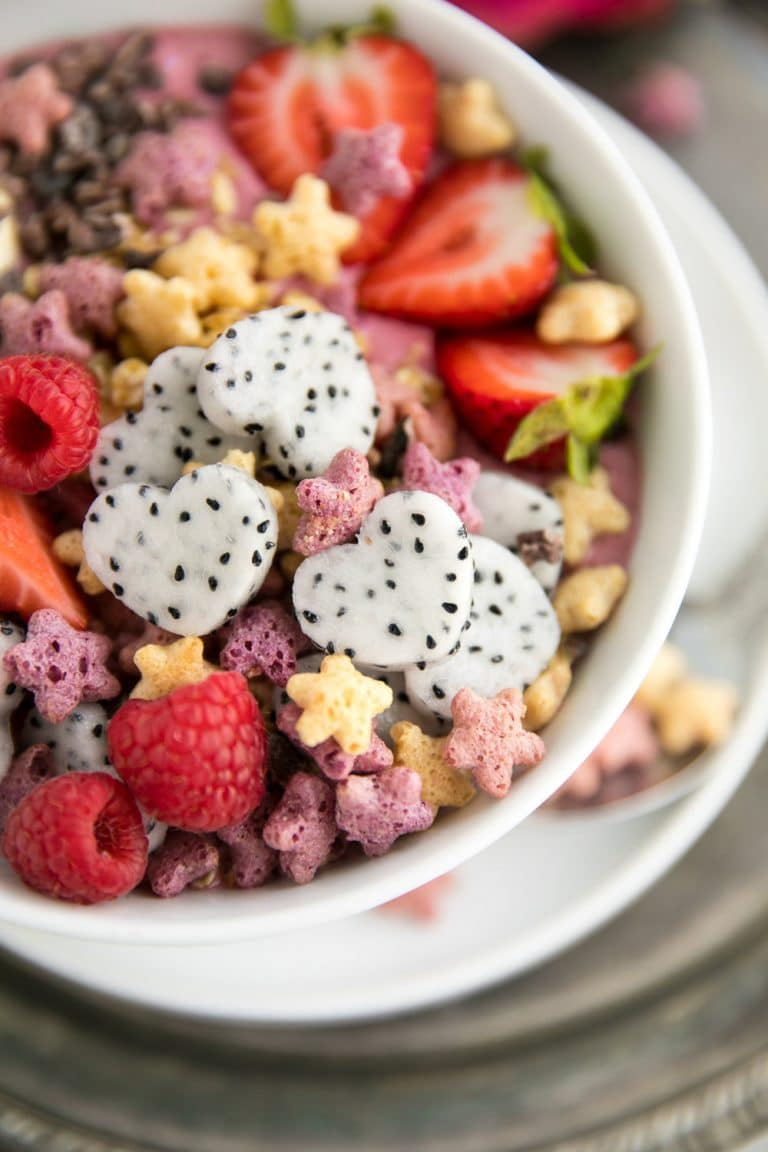 Sweet berries and bright red beets transform this Cereal Smoothie Bowl into a healthy, vibrant and fiber-rich powerhouse. Thanks to the addition of milk and yogurt, it's also packed full of protein