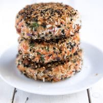 Sesame Crusted Salmon Burgers with Thai Cabbage Slaw