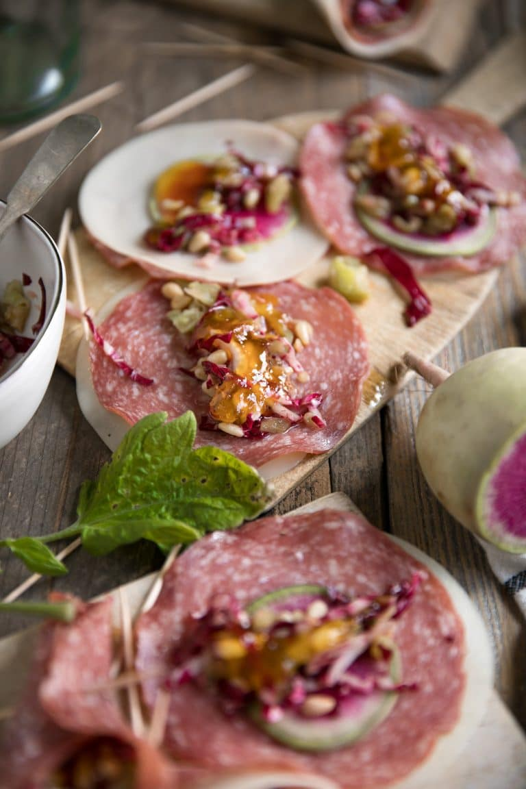 Ready in under 15 minutes, these Soppressata and Radish Provolone Cones make the perfect holiday snack or appetizer