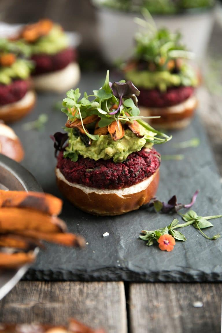Most popular recipe posts from The Forked Spoon in 2017- Vegetarian Beet Burgers with Avocado and Sweet Potato Fries
