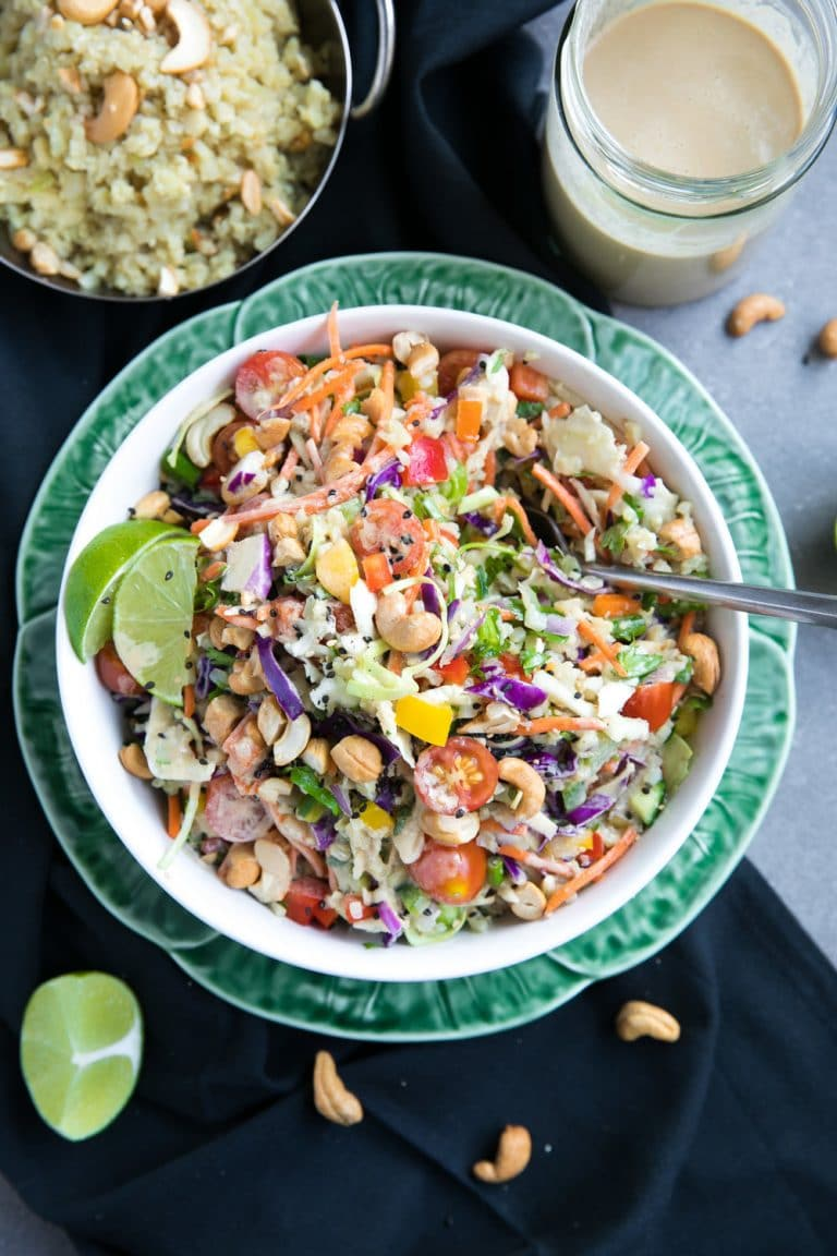 Most popular recipe posts from The Forked Spoon in 2017- Thai Cashew Coconut Cauliflower Rice Chopped Salad with Ginger Peanut Dressing