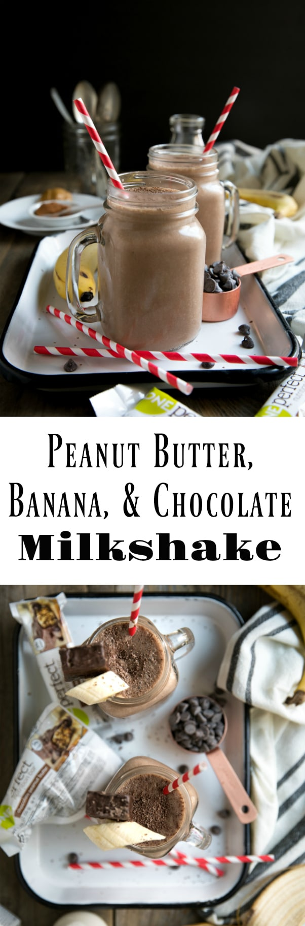 Peanut Butter Banana and Chocolate ZonePerfect Nutrition Bar Milkshake #ad #zoneperfect #milkshake #healthy #breakfast #snack #dessert #smoothie via @theforkedspoon