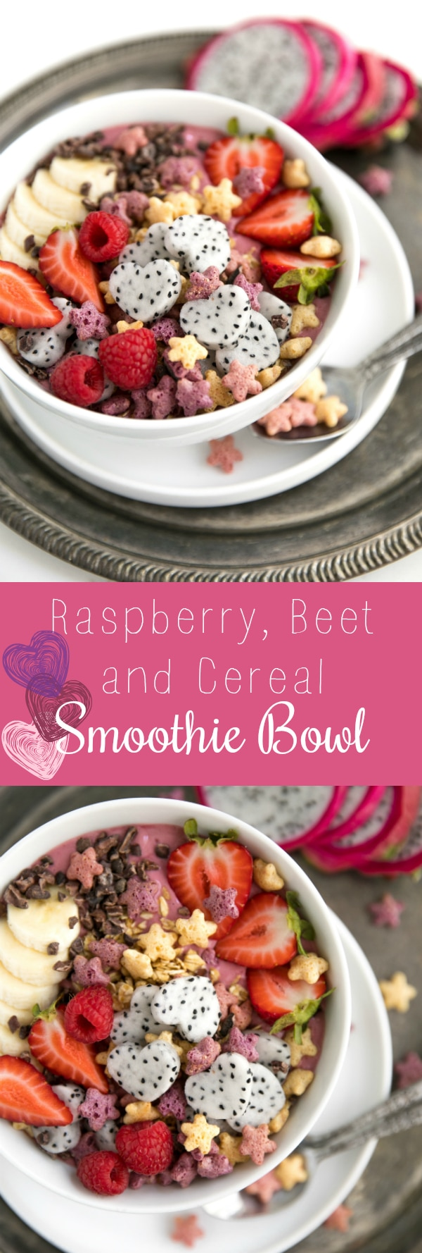 Raspberry Beet and Cereal Smoothie Bowl #beets #smoothiebowl #breakfast #healthy #cereal #easyrecipe via @theforkedspoon