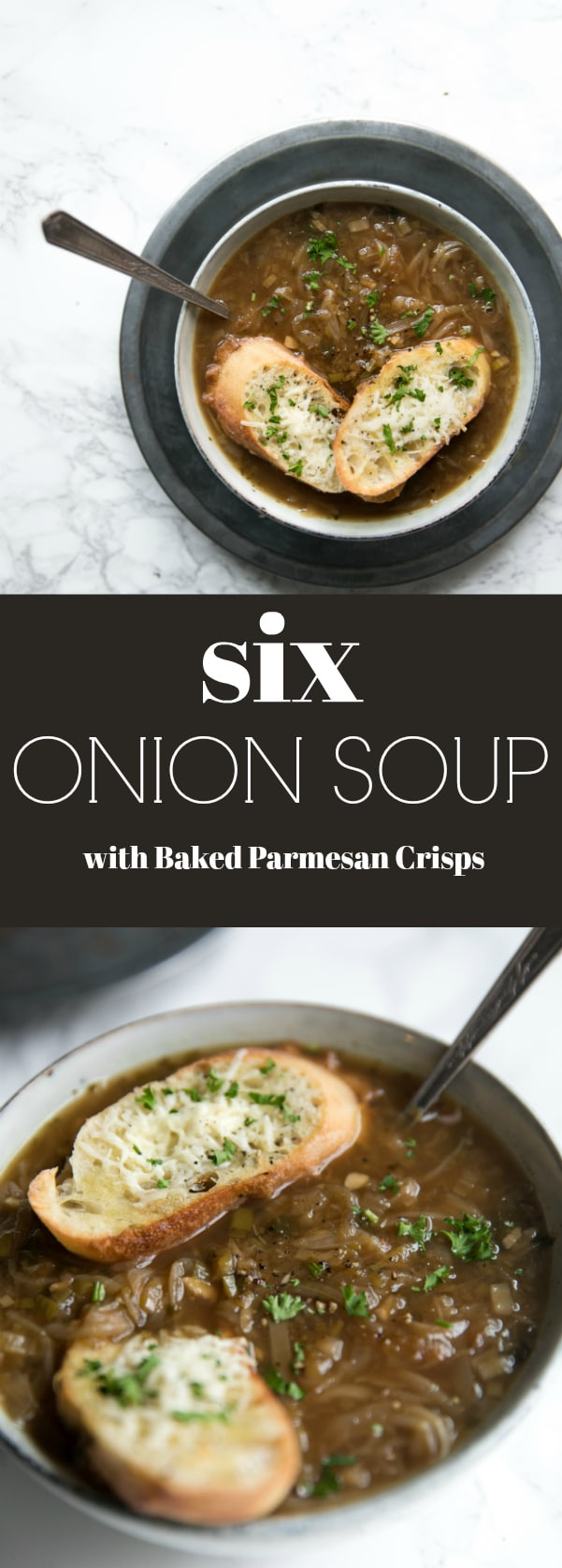 Easy 6 Onion Soup with Baked Parmesan Crisps. Six kinds of onions cook together to make this comforting, fragrant and delicious winter soup. Topped with baked Parmesan crisps, you can still enjoy all the flavors of classic French Onion Soup, but with less guilt. #soup #onionsoup #frenchonionsoup #winter #comfortfood