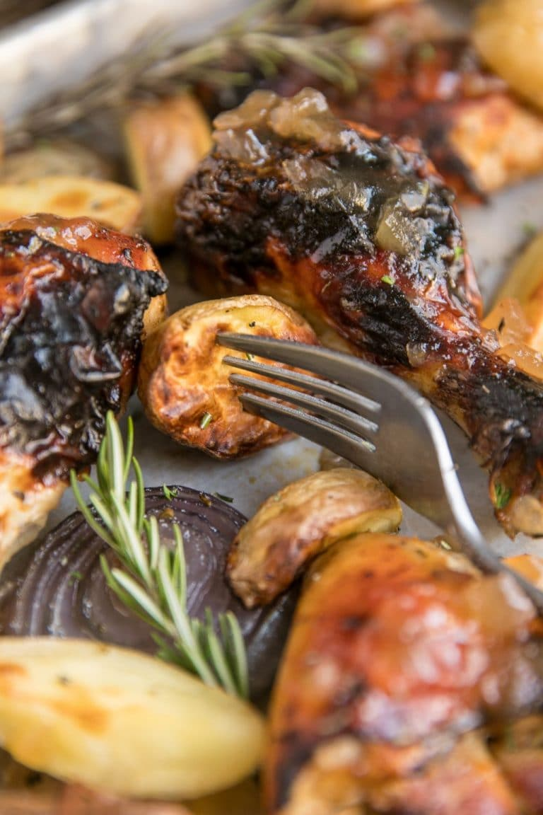 Apple Butter Roasted Chicken with Onions and Potatoes