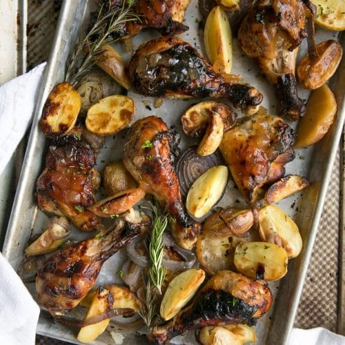 Apple Butter Roasted Chicken with Potatoes
