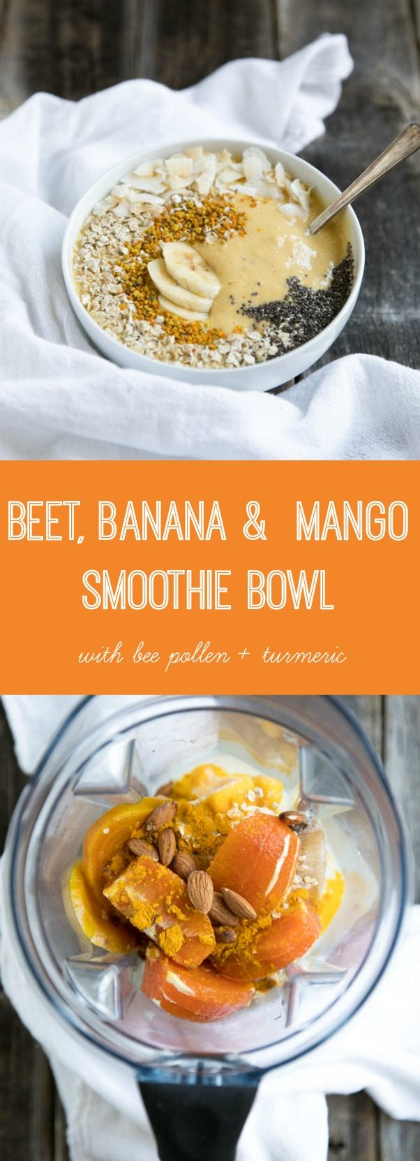 Banana Mango Smoothie Bowls with Bee Pollen and Turmeric @theforkedspoon #smoothie #turmeric #breakfast #healthy #theforkedspoon #glutenfree #dairyfree