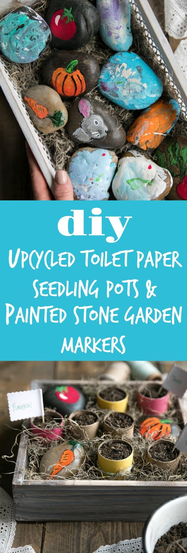 @PeterRabbitMovie hits theaters on Feb 9! #PeterRabbitMovie DIY Upcycled Toilet Paper Seedling Pots and Painted Stone Garden Markers #sponsored #peterrabbit  #garden #painting #DIY #kids #crafts via @theforkedspoon