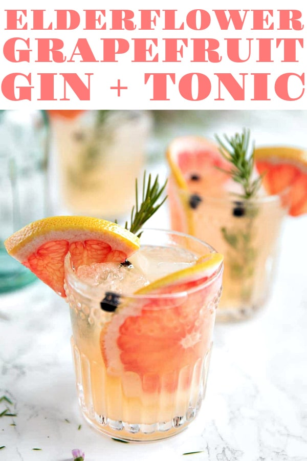 Elderflower Grapefruit Gin and Tonic. Sweet pink grapefruit, fragrant rosemary, and Elderflower Liqueur. #cocktail #drinks #alcohol #gin #grapefruit #cocktails #easyrecipe | For this recipe and more visit, https://theforkedspoon.com