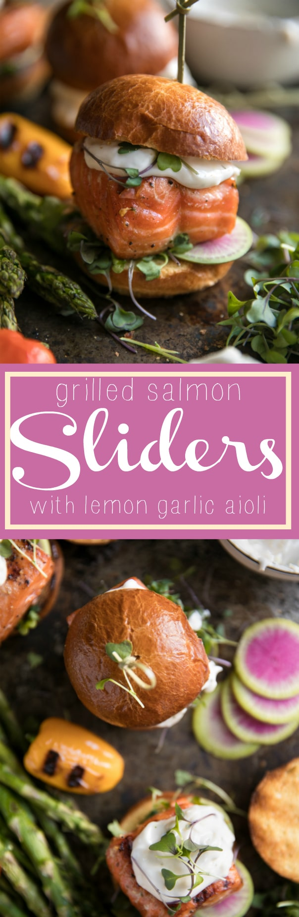 Grilled Salmon Burgers with Garlic Lemon Aioli via @theforkedspoon #ad #sliders #salmon #burgers #aioli #sandwich #fish #grilled #easyrecipe @philipshome