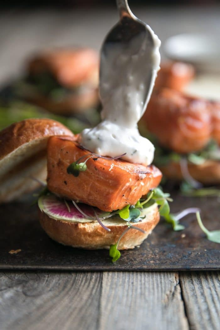 Grilled Salmon Burgers with Garlic Lemon Aioli