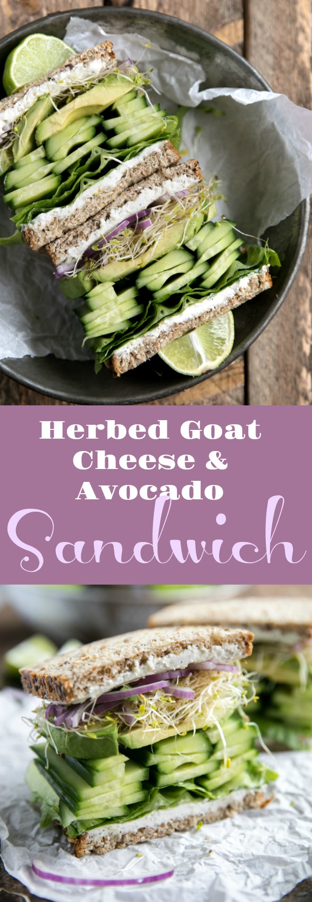 Herbed Goat Cheese and Avocado Sandwich #sandwich #vegetarian #lunch #easyrecipe #goatcheese #avocado #theforkedspoon via @theforkedspoon