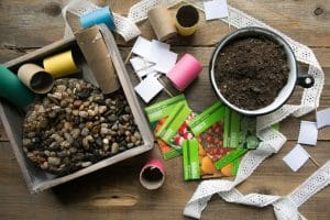 DIY Upcycled Toilet Paper Seedling Pots and Painted Stone Garden Markers