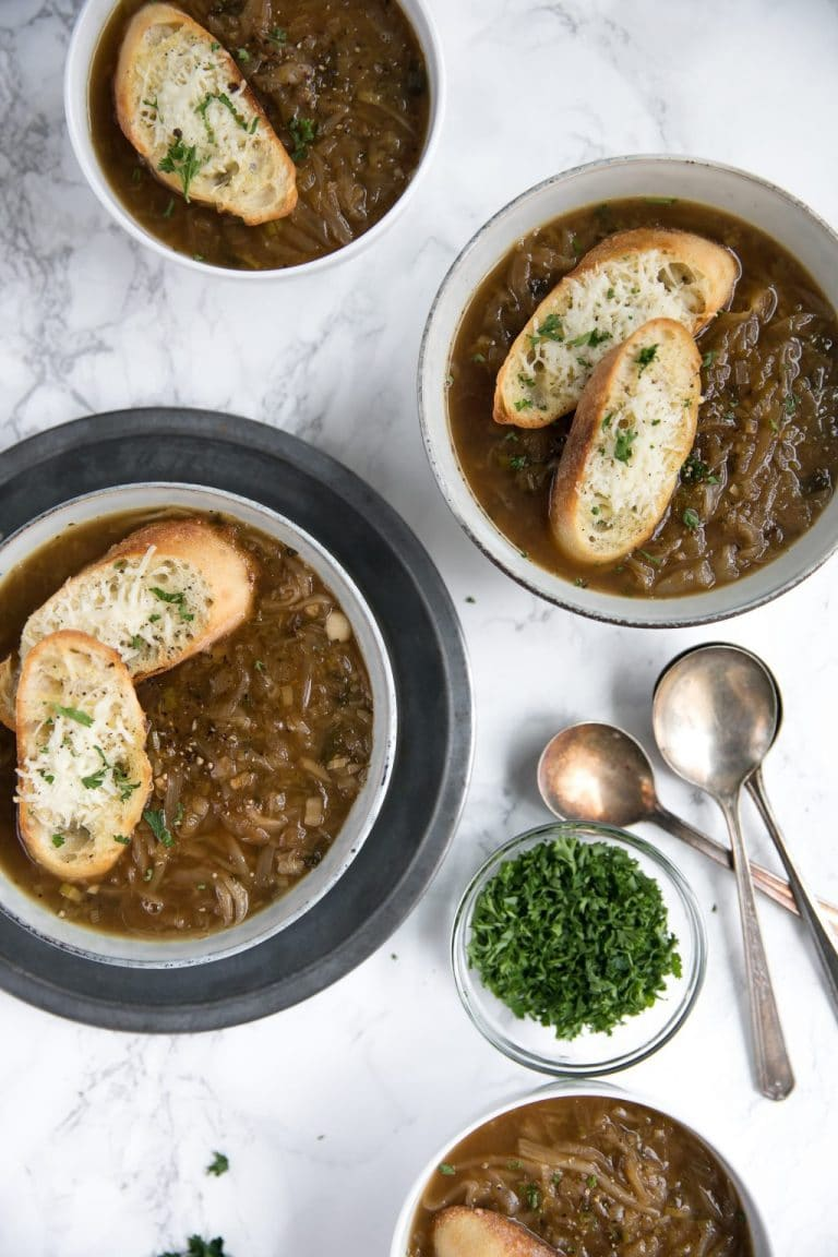 Easy Six Onion Soup with Baked Parmesan Crisps