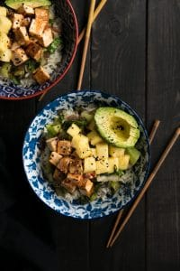 Sweet Chili Tofu with Coconut Rice and Bok Choy