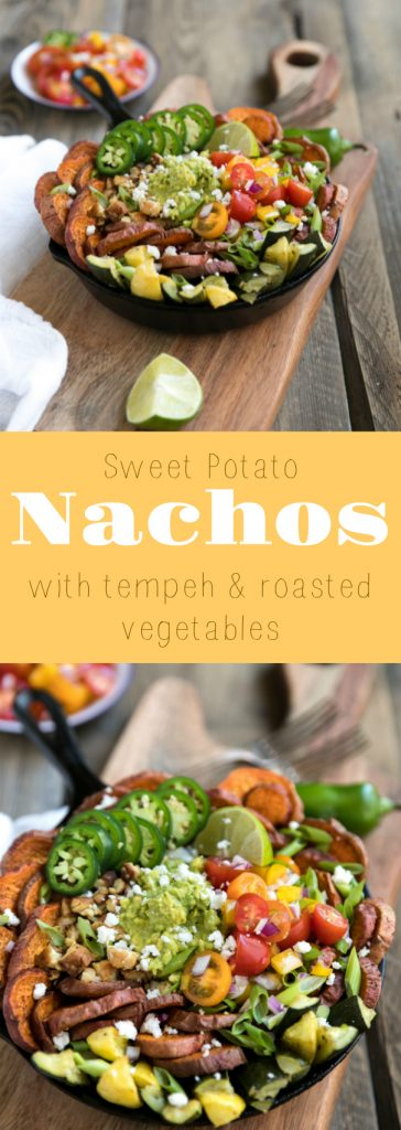 Sweet Potato Nachos with Tempeh and Roasted Vegetables