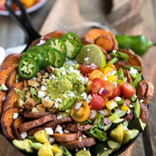 Sweet Potato Nachos with Tempeh and Roasted Summer Squash