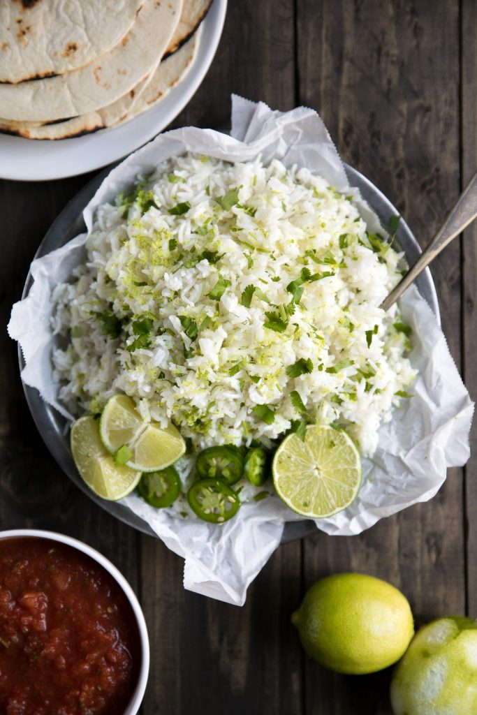 Easy Cilantro Lime Rice with fresh cilantro, lime juice and lime zest.