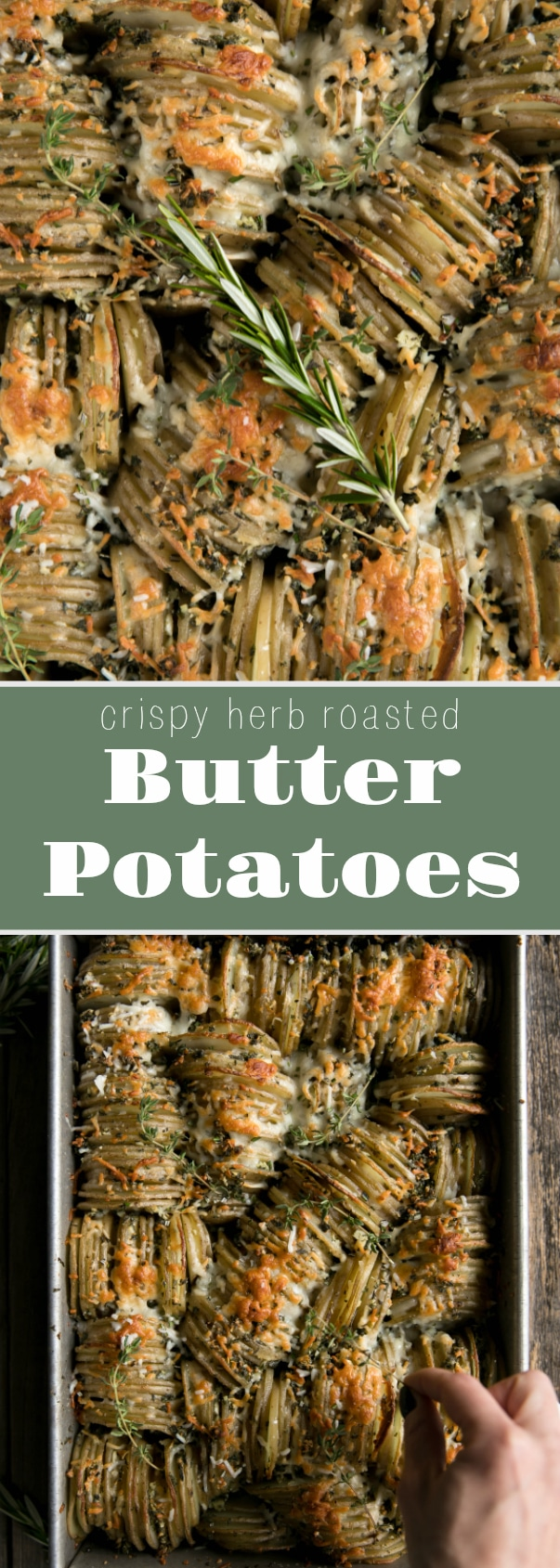 Crispy Herb Roasted Butter Potatoes via @theforkedspoon #potatoes #sidedish #butter #herbs #crispypotatoes #theforkedspoon
