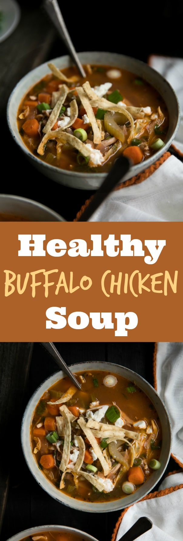 Healthy Buffalo Chicken Soup via @theforkedspoon #buffalosauce #chicken #soup #healthy #lowfat #dinner #chickensoup #buffalochicken