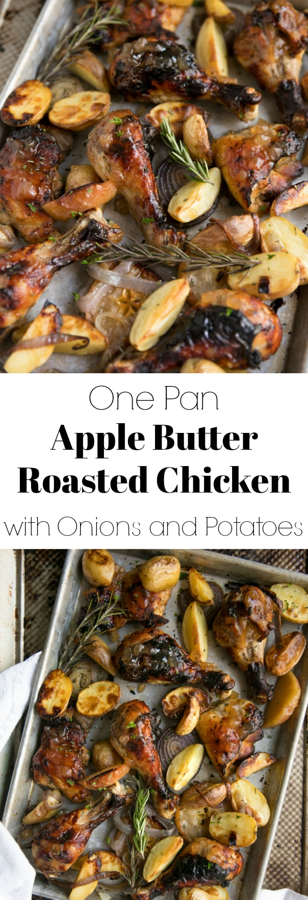 Easy One Pan Apple Butter Roasted Chicken with Onions and Potatoes. A delicious combination of sweet and savory in one easy dinner via @theforkedspoon #chicken #healthyrecipe #potatoes #apples #mealplan #easyrecipe #applebutter #recipe