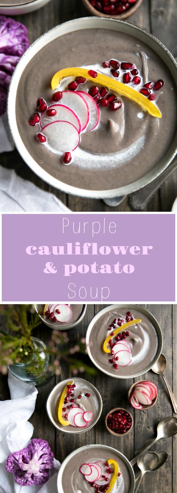 Purple Cauliflower and Potato Soup via @theforkedspoon #vegetarian #vegan #soup #cauliflower #healthy #potatoes #coconutmilk #glutenfree #winter #theforkedspoon