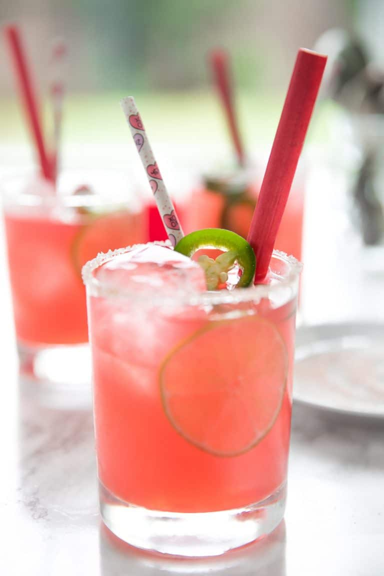 Sweet and Spicy Raspberry Rhubarb Margaritas with homemade Raspberry Rhubarb Syrup