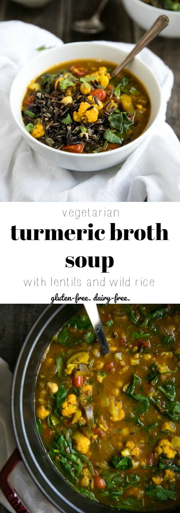 Easy Turmeric Broth Soup with Wild Rice and Vegetables via @theforkedspoon #soup #vegetarian #dairyfree #glutenfree #healthy #cauliflower #turmeric #rice #lentils