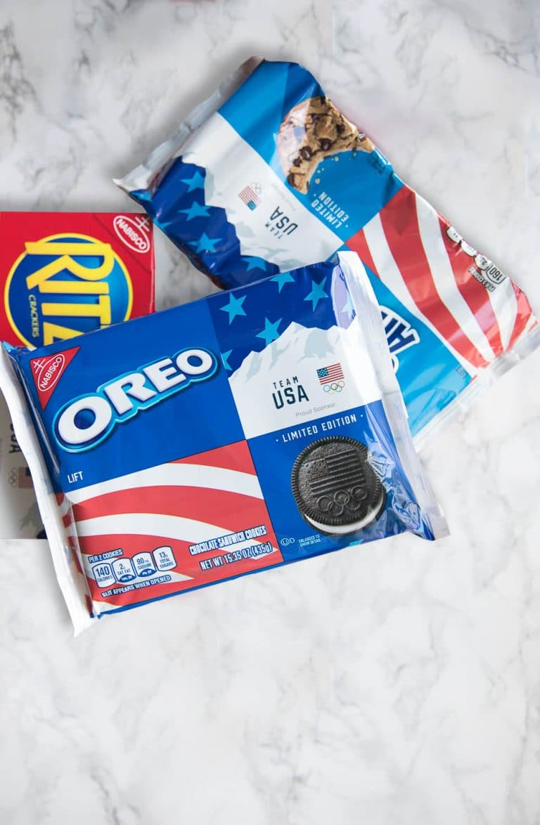 Creamy Peanut Butter Sandwiched between Buttery RITZ Crackers and dipped in swirled Red, White, and Blue melted white Chocolate