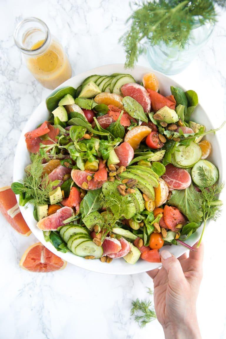 Citrus Smoked Salmon Salad with Sweet Orange Mustard Vinaigrette