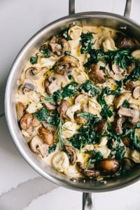 Easy mushroom and spinach tortellini pasta