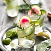Cucumber, Rosemary, and Watermelon Radish Gin and Tonic