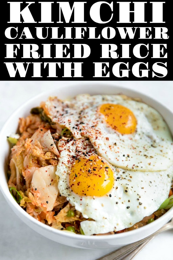 Kimchi Fried Cauliflower Rice with Egg via @theforkedspoon #kimchi #cauliflower #cauliflowerrice #egg #rice #lowcarb #healthy #easyrecipe #Keto | For this recipe and more visit https://theforkedspoon.com