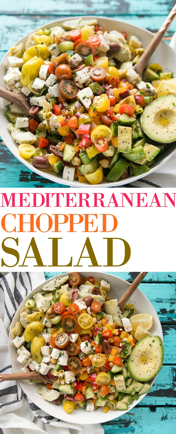 Easy 10 Minute Chopped Mediterranean Salad. Perfect for summer BBQs, potlucks, or as a fast and simple weeknight dinner. via @theforkedspoon #salad #choppedsalad #easyrecipe #vegetarian #lowcarbrecipe #mediterranean | For the recipe and more visit, https://theforkedspoon.com/