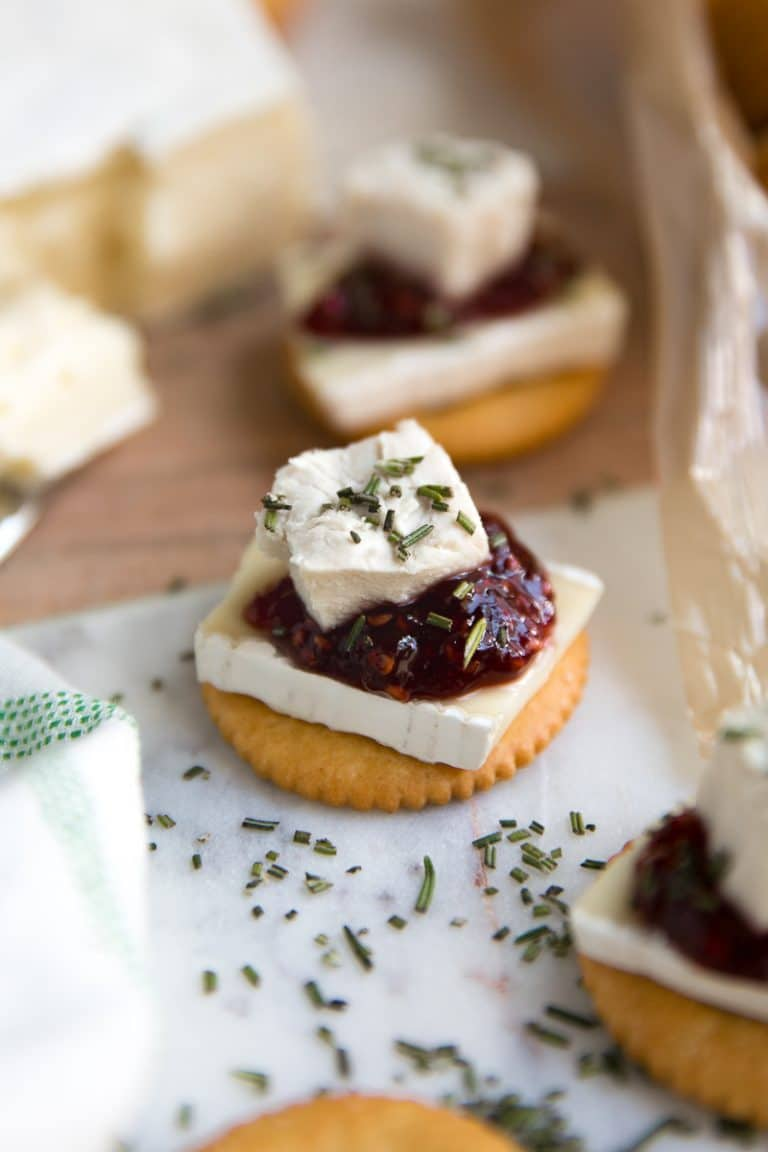 RITZ, Brie, and Jam Cracker Bites. RITZ, Brie, Chicken, and Jam Cracker Bites with Rosemary