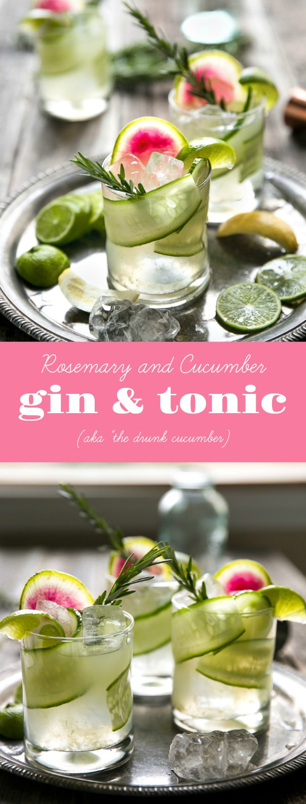 Easy Cucumber, Rosemary, and Watermelon Radish Gin & Tonic (aka
