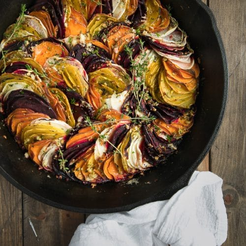 Scalloped Root Vegetable Skillet