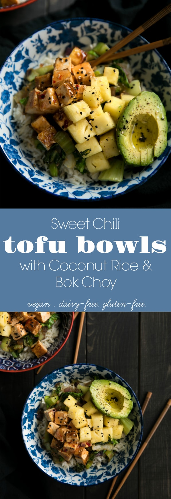 Sweet Chili Tofu Bowls with Coconut Rice and Bok Choy via @theforkedspoon #vegetarian #tofu #ricebowl #coconutmilk #rice #easyrecipe #healthy #vegan #dairyfree #glutenfree