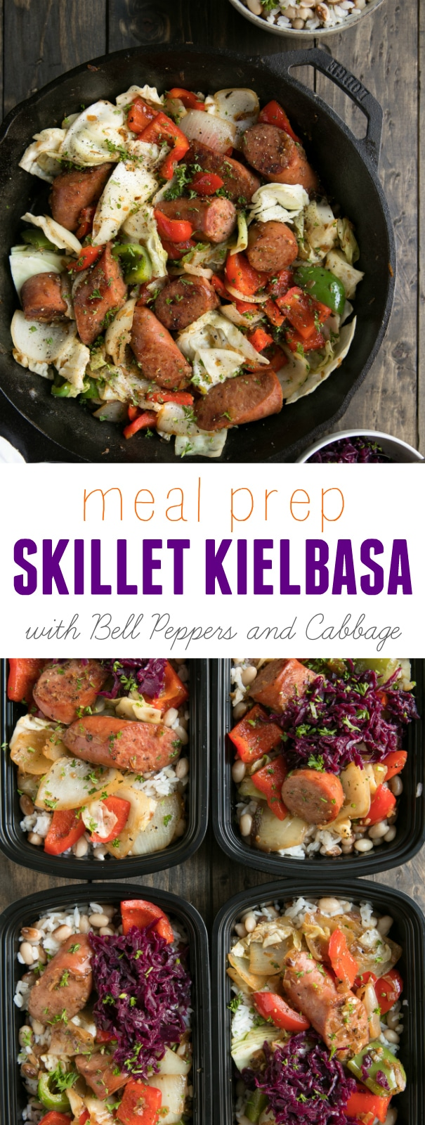 Meal Prep Skillet Kielbasa with Bell Peppers via @theforkedspoon #mealprep #kielbasa #sausage #30minutemeals #easyrecipes #skillet #fastrecipe | Find this recipe and more here, theforkedspoon.com