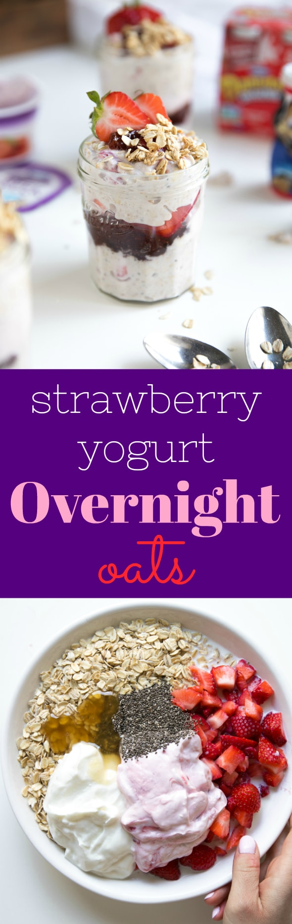 Strawberry Yogurt Overnight Oats. Healthy, delicious and loved by the whole family, these Overnight Oats with Yogurt are packed full of gluten-free rolled oats, Greek yogurt, fresh strawberries, milk, and chia seeds for an easy, grab-n-go, protein-packed breakfast!! #overnightoats #ad #breakfast #glutenfree #healthyrecipe | For this recipe and more visit, https://theforkedspoon.com