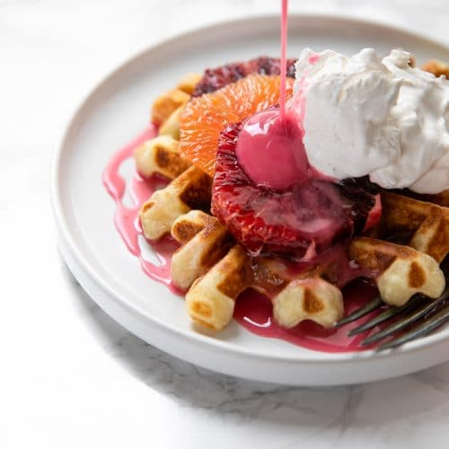 CRISPY WAFFLES WITH BLOOD ORANGE GLAZE