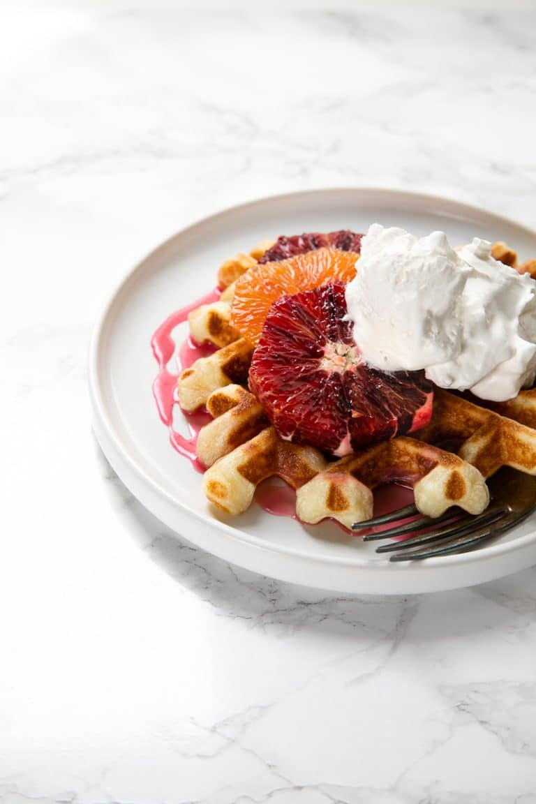 Crispy Waffles With Blood Orange Glaze The Forked Spoon