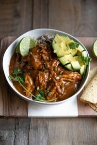 Layers of complex and bold flavors simmer together to make this delicious Chicken Molé with Homemade Molé Sauce. Served over rice, wrapped in warm tortillas, or piled on abed of fresh greens, the Homemade Chicken Molé dinner options are endless.