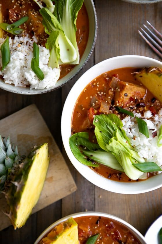 Ready in just 30 minutes, this Pineapple Coconut Thai Fish Curry is rich, comforting, and packed full ofchunks of white fish and fresh vegetables. Delicious for dinner or even leftover for lunch, even the kids will love the flavorful broth made even better with sweet pineapple.