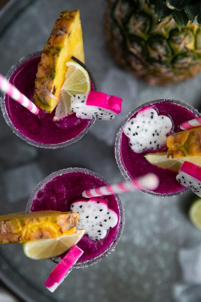 margarita with dragon fruit, lime and pineapple
