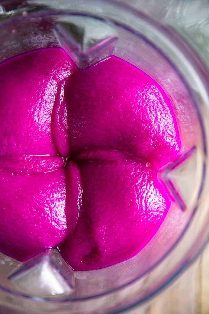 dragon fruit margarita in the blender