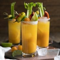 Cheersto the weekend with this nutrient (and vodka) filled Golden Beet and Tomato Bloody Mary. Made with golden beets, yellow heirloom tomatoes, vodka, and all the fixings, these beautiful Bloody Mary's are delicious, and just what your next brunch party calls for.