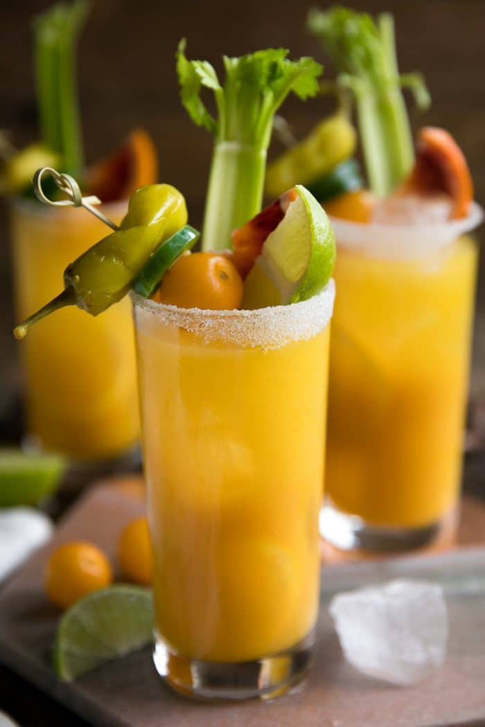 Cheers to the weekend with this nutrient (and vodka) filled Golden Beet and Tomato Bloody Mary. Made with golden beets, yellow heirloom tomatoes, vodka, and all the fixings, these beautiful Bloody Mary's are delicious, and just what your next brunch party calls for.